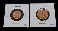 1985 Australia One 1 & Two 2 Cent Coins - Uncirculated from Mint Set