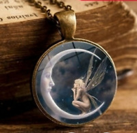 Necklace/Pendant: Fairy Sitting on Moon reaching for a Star with Copper Chain