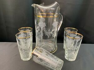 6 Piece Beverage Set ~ White Etched Glass Tumblers Flower Pots / Fence