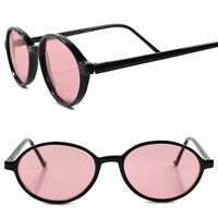 Classic Genuine Vintage 80s Old Fashioned Pink Lens Black Frame Oval Sunglasses