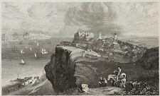 GRÜNEWALD, 'Lissabon vom Fort Almeida', Portugal, um 1850, Stahlstich