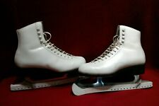 Vintage Riedell White Leather Ice Skates Red Wing Minn. Size 6