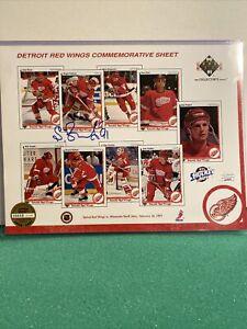 "Sergei Fedorov Signed Detroit Red Wing Commemorative Sheet 8 1/2"" x 11"" JSA COA"