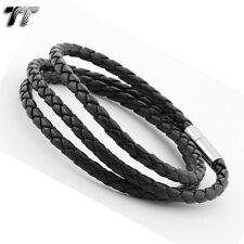 STYLISH T&T BLACK Leather Bracelet Wristband LB103 NEW