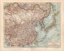 China Japan Korea Hwang-Hai  Peking Mukden MandschureiTsing-Tau LANDKARTE 1894