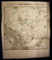 """Kupferstich teilkoloriert """"Die Schlacht von Möckern"""" 1821 Sachsen-Anhalt sf"""
