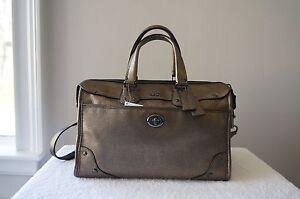 AUTH Coach Purse 33739 Metallic LEATHER Rhyder Shoulder Satchel Carryall Bag