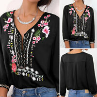 Women Floral V Neck Long Sleeve Tops Shirt Casual Plus Size Baggy Loose Blouse