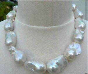REAL HUGE 14x22mm SOUTH SEA NATURAL WHITE BAROQUE PEARL NECKLACE 18''