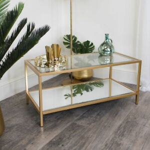 Gold glass mirrored coffee table living room lounge furniture vintage home decor