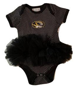 Mizzou Missouri Tigers Tutu One Piece Bodysuit Infant Girls 12 Months Black NWT