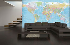 Wall mural photo wallpaper 366x253cm Blue Map of the World for home & office