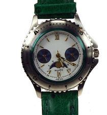 Armbanduhr CITIZENwerk Mondphase Edelstahl Lederband grün genäht nickefrl-NEU-