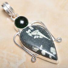"Handmade Natural Ocean Jasper Gemstone 925 Sterling Silver Pendant 2.5"" #P11157"