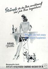 Arwa Strümfe auf Taile Reklame von 1941 Dame Barhocker Hund Nylons Strumfhose ad