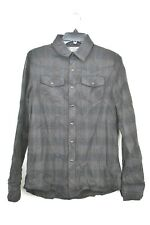 The Shirt Unisex Gray Plaid Sext Style Long Sleeve Buckle Snap Front Shirt Sz S
