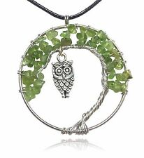 Green Owl Tree of Life Stone and Wire Pendant Necklace