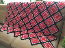 """Granny Squares Crochet Afghan Throw Blanket~Red Black Gray~ 60"""" X 60"""" Ohio State"""
