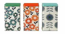 Set Of 3 Floral Prints Metal Storage Tins Canisters Tea Coffee Sugar Biscuit Jar