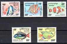 Poissons Cambodge (35) série complète de 5 timbres oblitérés