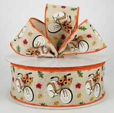 """🧡 5 Yds X 2.5"""" Wide Fall Canvas Vintage Bycicle w/Sunflowers & Leaves"""