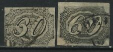 Brazil 1844 30 and 60 reis black imperf used