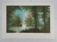 Gilles FIGUIER - Le lac  - Lithographie Originale Signée