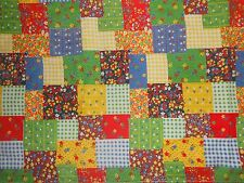 L~VTG RED BLUE YELLOW~PATCHWORK~FLORAL FABRIC~HEMMED FOR 55X74 TABLECLOTH+BONUS
