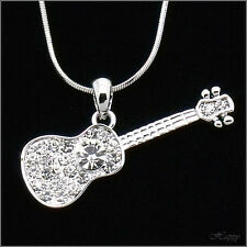 Guitar Music Pendants Necklace Charm Crystal Clear Silver Tone Costume Jewelry