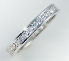 1ct tw Channel Eternity Ring Simulant Imitation Moissanite Sterling Silver Sz 6