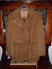 "Italy vtg VAN HEUSEN ""WINDBREAKER"" sz 40 Brown PeaCoat w/Belt 6.5"" lapels"