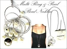 ~MULTI RING & PEARL BEAD PENDANT NECKLACE~Cluster Feature~Silver~Classy