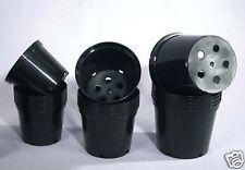 50 x 7.5 Litre Black Plastic Plant Pots High Quality Pro Grade (e406)