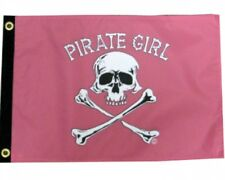 "PIRATE GIRL BOAT FLAG 12X18"" NEW BOAT FLAG PINK GIRL JOLLY ROGER"