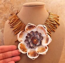 GENUINE CORAL SEA GOLD STATEMENT NECKLACE BIG SHELL FLOWER PENDANT BEACH BRIDAL