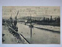RIMINI porto canale barche vela sailing boat vecchia cartolina