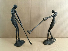 "2 Vintage Metal Swinging Golf Players Figurines 9"" T Rare"