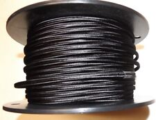 BLACK PARALLEL RAYON COVERED LAMP CORD 2 WIRE ANTIQUE VINTAGE STYLE 46634JB