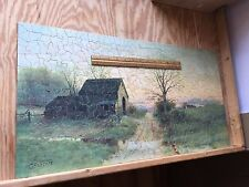 """Antique C1909 Wooden Jigsaw Puzzle """"Old Barn at Twilight View"""" Lg 559pc Lamasure"""