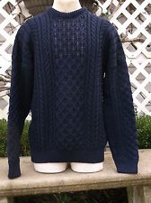 PEREGRINE England VTG Navy Blue 100% Wool L/S Cableknit Fishermans Sweater L