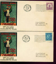 1932 FDC - Scott# 718 & 719 - LA, CA Cancel - Olympic Cover Co Cachet  2 Covers