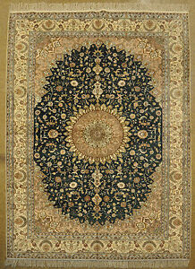 Rug Fine Decorative Hand-Knotted Rug 6' X 9' Silk Green - Tan Traditional