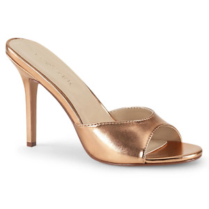 Sexy 4 Inch Prom Formal Evening Mules Slides Rose Gold Large Sizes Women Heels 5