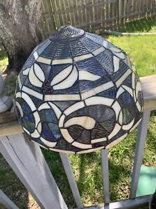 Used Tiffany Style Stained Glass Lamp Shade Abstract