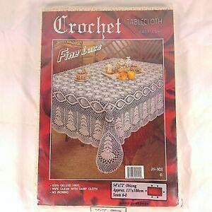 "Crochet Tablecloth Fine Lace Vinyl 54"" X 72"" Cream Rectangle JS-923 New"