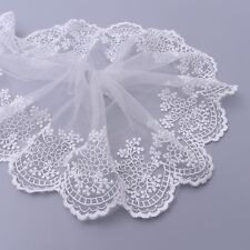2yds Floral Tulle Lace Trim Embroidered Edge Net Mesh Wedding Dress Sewing Craft