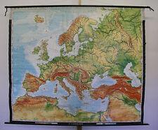 schöne alte Schulwandkarte Europakarte 205x177 Schulkarte 1977 vintage loft map