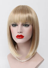 BOB Strawberry Blonde Pale Blonde Mix Short Straight bangs Women Everyday Wig