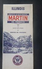 1971 Illinois  road  map Martin  oil  gas