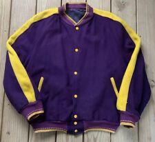 Vintage 80s LA Lakers Varsity Wool Colors Letterman Jacket Bomber XL
